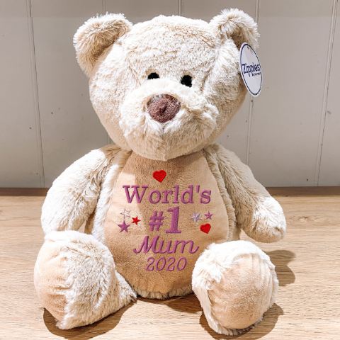 World's #1 Mum Embroidered Teddy Bear